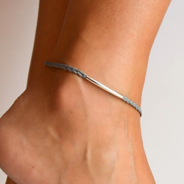 Silver Bar Cord Anklet