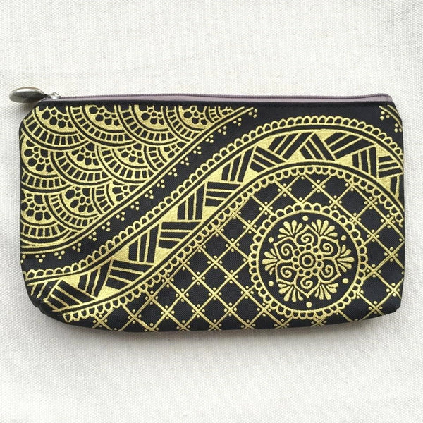 Henna Art Zipper Pouch (Black & Gold 1)