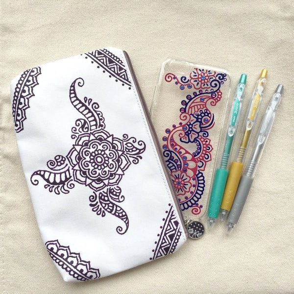 Henna Art Zipper Pouch (White & Violet)