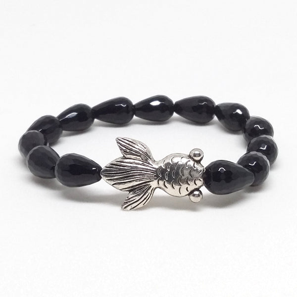 Faceted Black Agate Stone Bracelet