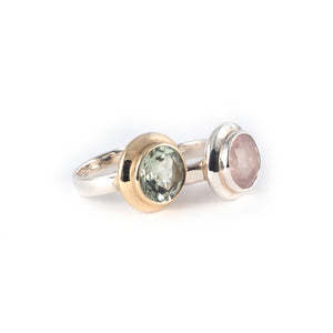 Moon Rings, green amethyst and rose quartz gemstone set in 9 ct gold and sterling silver.