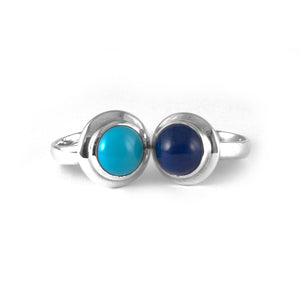 Moon Ring with a turquoise gemstone,  lazuli gemstone set in sterling silver.
