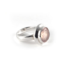 Moon Ring with a rose quartz gemstone set in sterling silver.