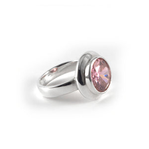 Moon Ring with pink diamond crystal set in sterling silver.
