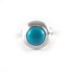 Moon Ring with a turquoise gemstone set in sterling silver.