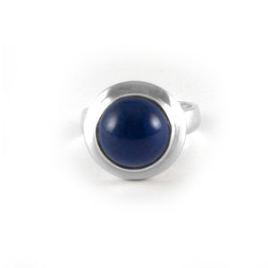 Moon Ring with a lapis lazuli gemstone set in sterling silver.