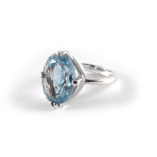 Oval Float Ring with a 16 x 12 sky blue topaz crystal set in sterling silver.