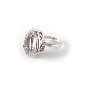 Pear Crown Ring with a rock crystal  set in sterling silver.