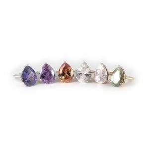 Pear Crown Ring with a lilac amethyst crystal, an amethyst crystal, champagne topaz crystal, rock quartz, kunzite, prasiolite set in sterling silver and 9 ct gold.