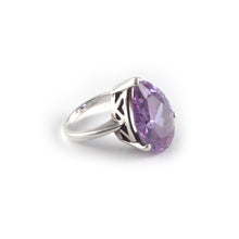 Pear Crown Ring with a lilac amethyst crystal, set in sterling silver.