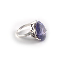 Pear Crown Ring with an amethyst gemstone set in sterling silver.