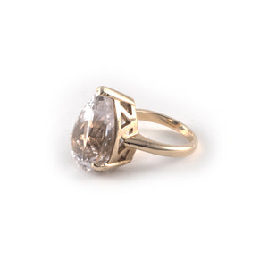 Pear Crown Ring with a 20 x 15 kunzite gemstone set in 9 ct gold.