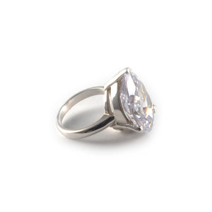 Pear Tilt Ring with a white diamond crystal set in sterling silver.