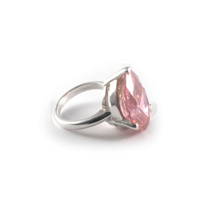 Pear Tilt Ring with a pink diamond crystal set in sterling silver.