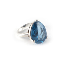 Pear Tilt Ring with a London blue topaz crystal set in sterling silver.