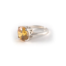 Round Crown Low Ring with a champagne topaz crystal set in sterling silver.