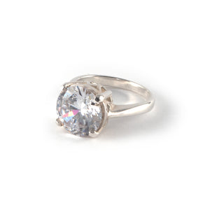 Round Crown Low Ring with a white diamond crystal set in sterling silver ring.