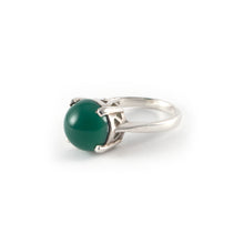 Round Crown High Ring with a green agate set in sterling silver.