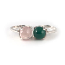 Round Crown High Ring with a rose quartz and green agate set in sterling silver.