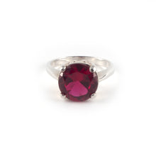 Round Crown Low Ring with a red ruby crystal set in sterling silver.