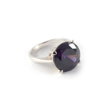 Round Crown Low Ring with a amethyst crystal set in sterling silver.