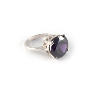 Round Crown High Ring with an amethyst crystal set in sterling silver.