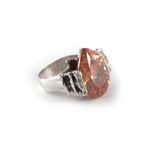 Wave Ring with a champagne topaz crystal set in sterling silver.