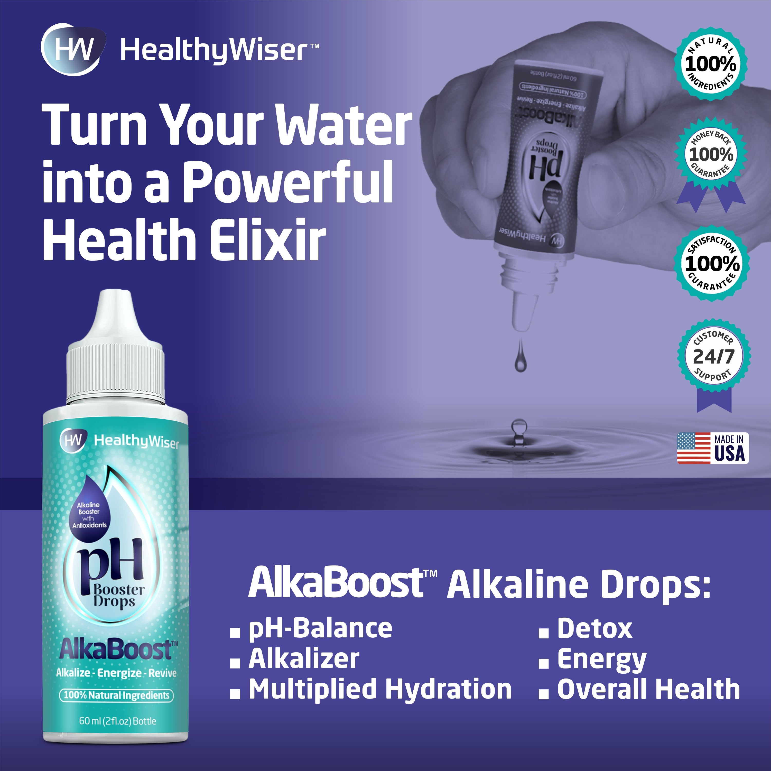 Alkaline Water Drops With Natural Antioxidant (2oz)