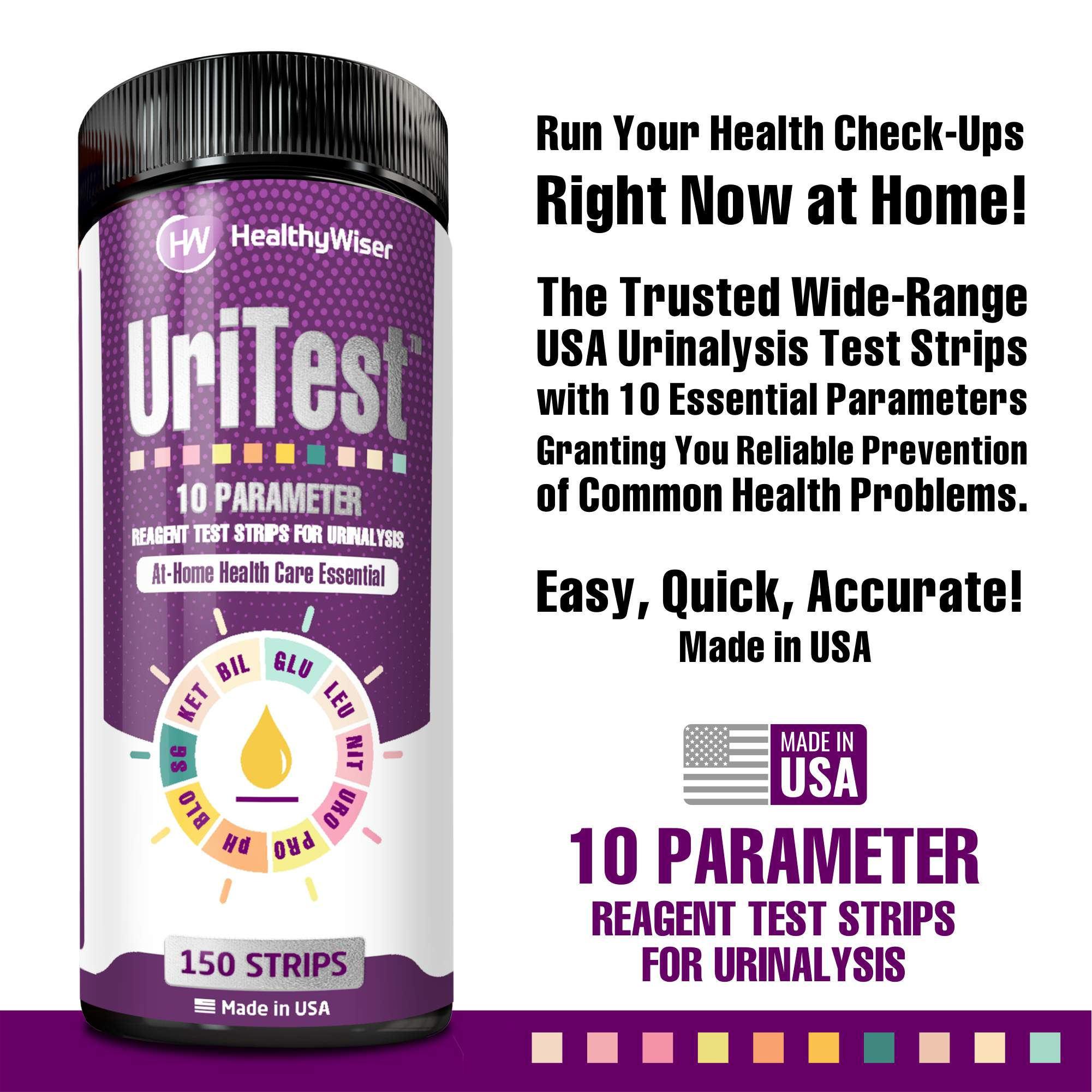 10 Parameter Urinalysis Test Strips (150 Strips)