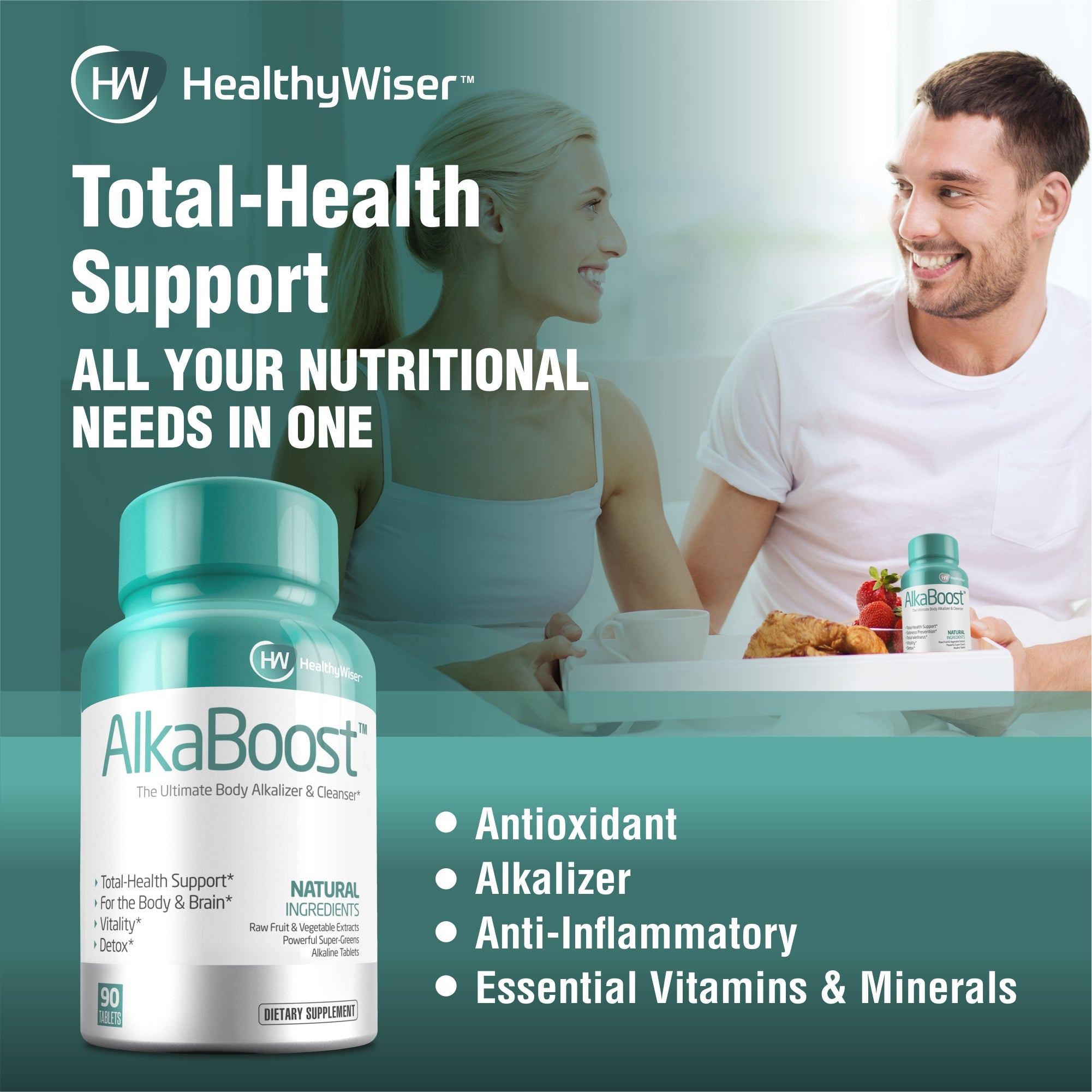 0AlkaBoost™ MultiVitamin For Healthy pH Balance, Alkaline Booster & Immune System Support. Natural Detox & Sickness Prevention - Promotes Energy Clarity and Focus - Green and Wholefood Blend, 90ct