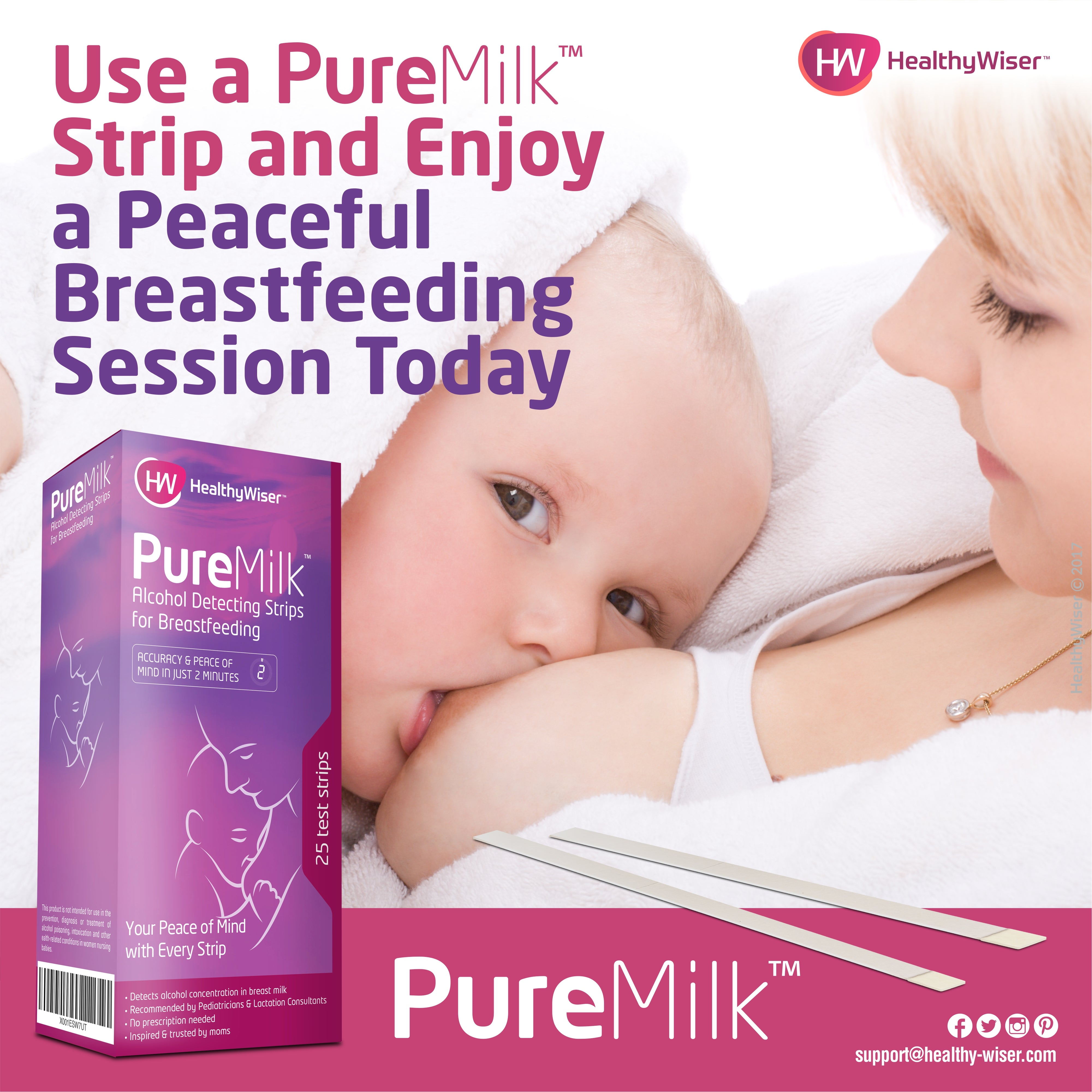 PureMilk™ Breast Milk Alcohol Test Strips
