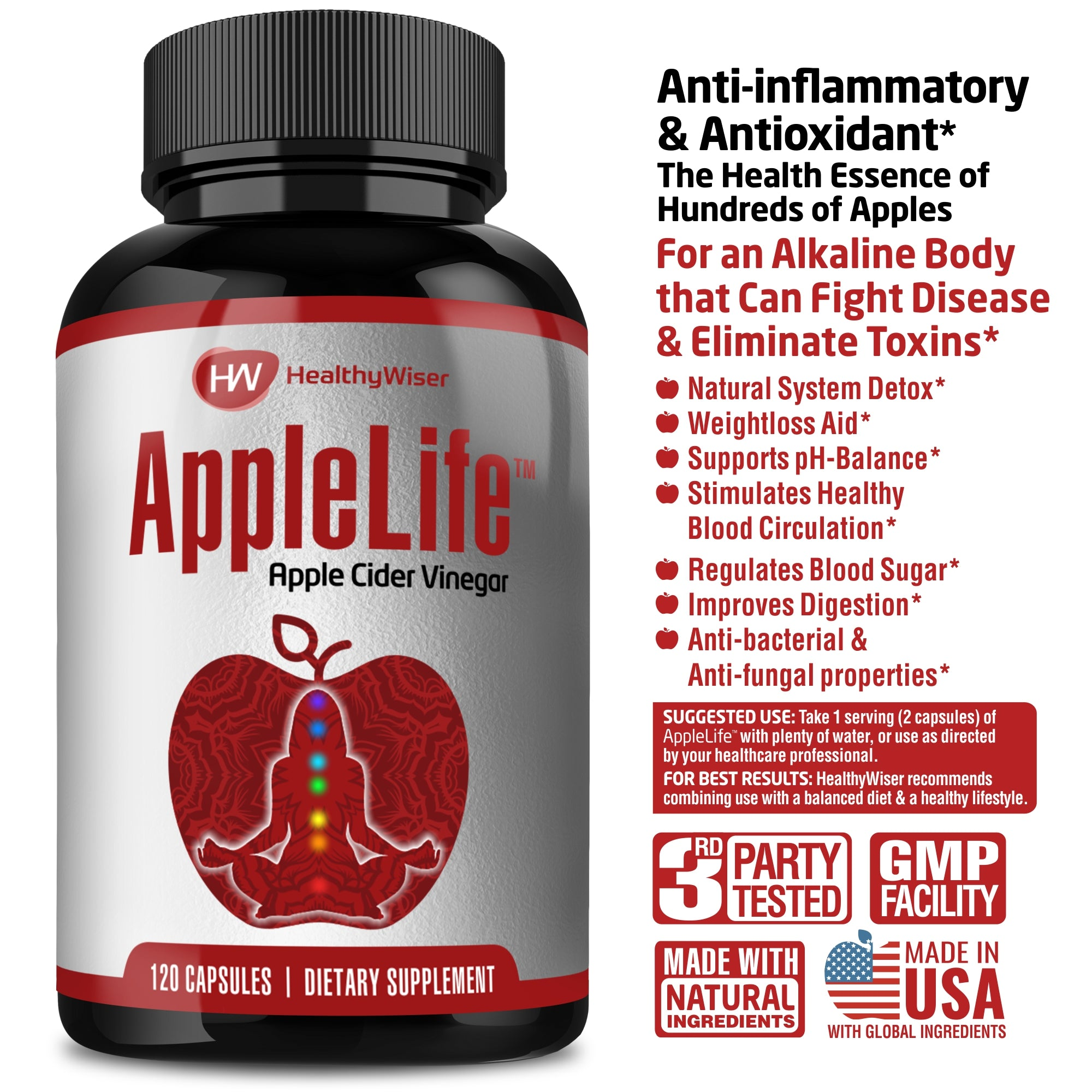 Apple Cider Vinegar Capsules 1000mg - 120 Tablets