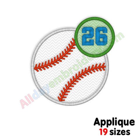 baseball ball applique design