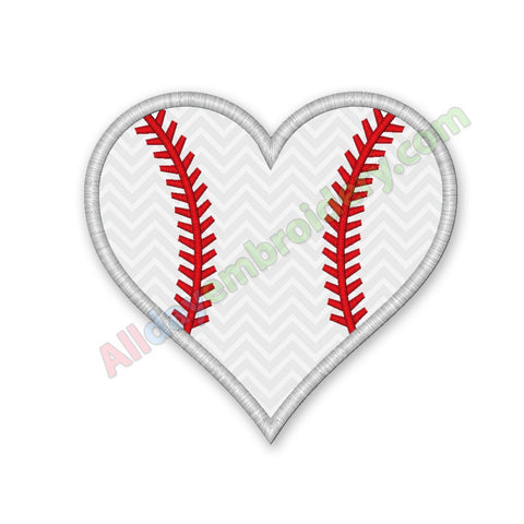 Baseball Heart Applique