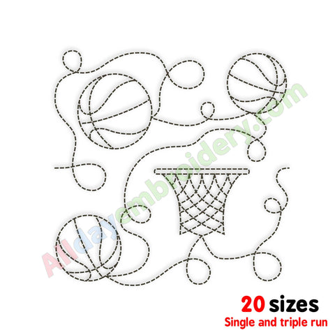 Basketball quilt block embroidery