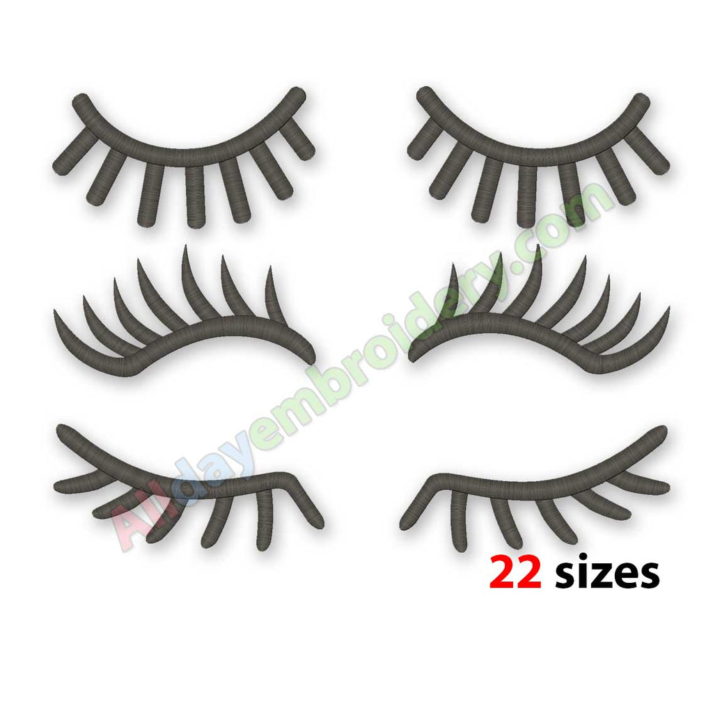 Eyelashes embroidery design