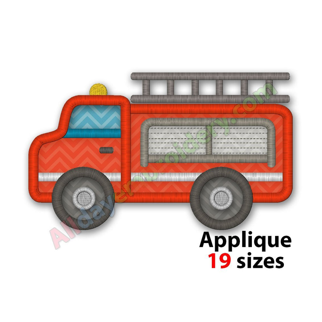 Fire Truck Embroidery Design Machine Embroidery Design Applique