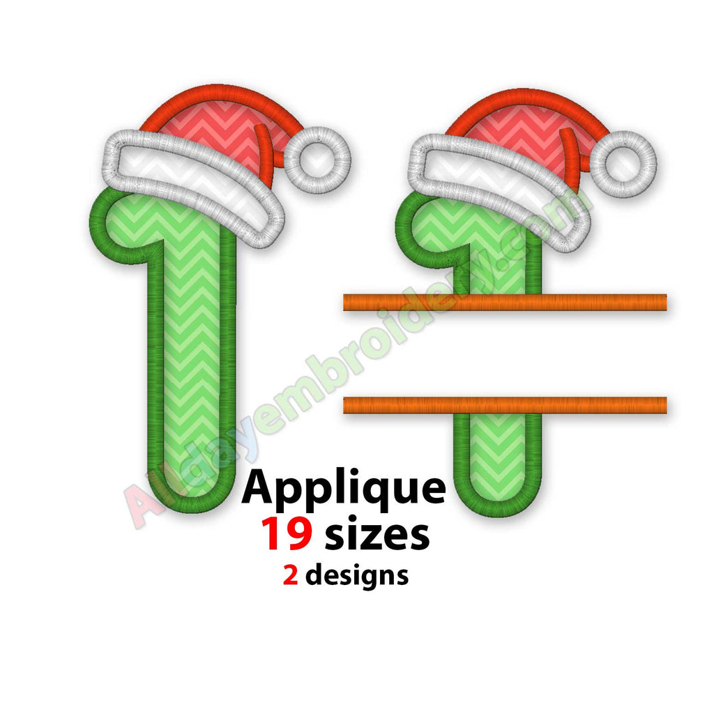 Christmas number embroidery
