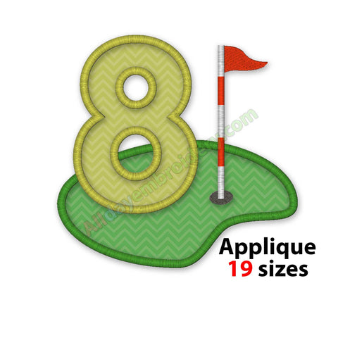 number eight applique embroidery