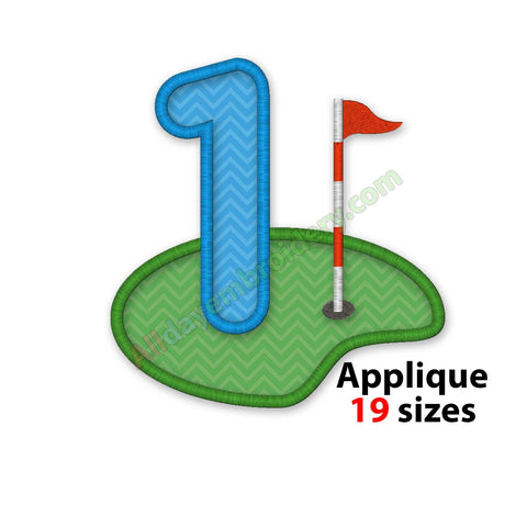 Golf number embroidery design