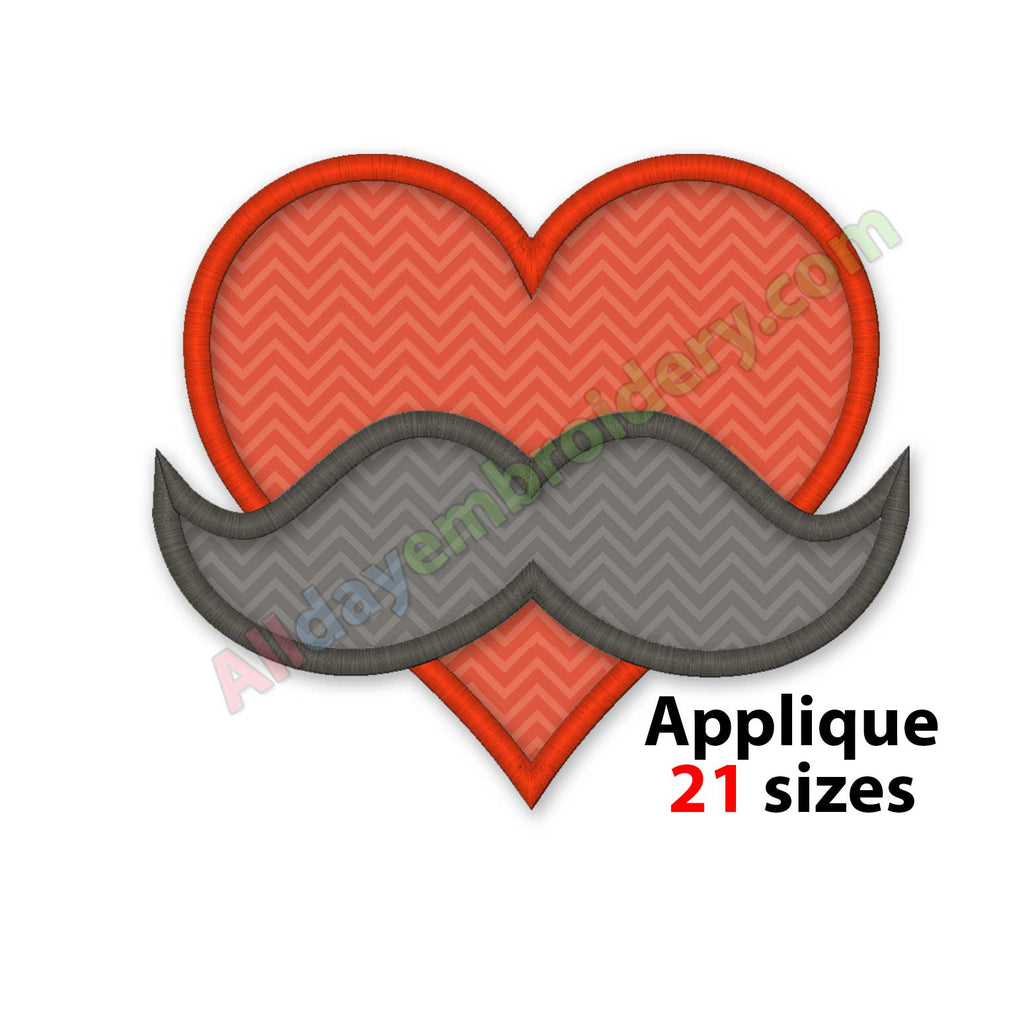 Heart with mustache embroidery design
