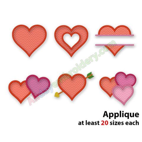 Heart Applique Set