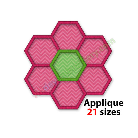 Hexagon flower embroidery design