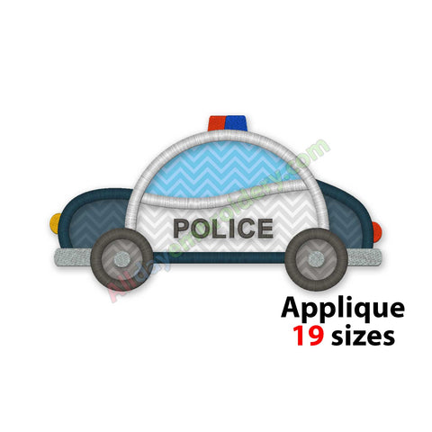 Police car embroidery design