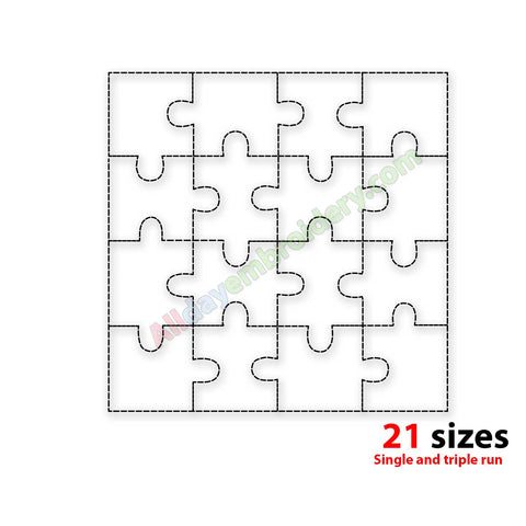 Puzzle quilt block embroidery design