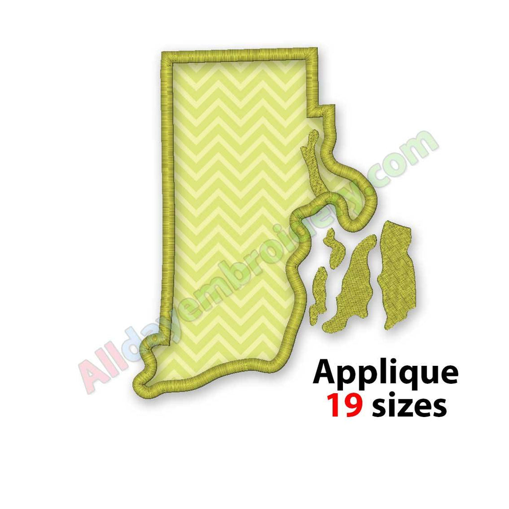 Rhode Island embroidery design