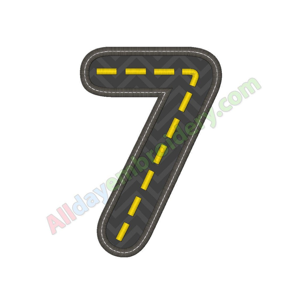 Road number embroidery