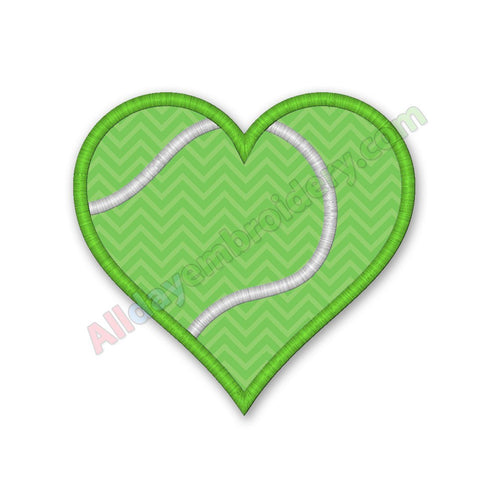 Tennis heart embroidery