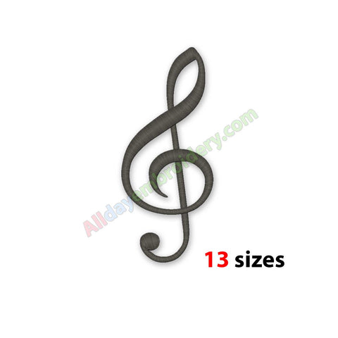 Treble Clef embroidery design