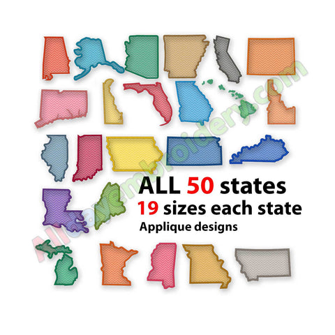 US States embroidery design